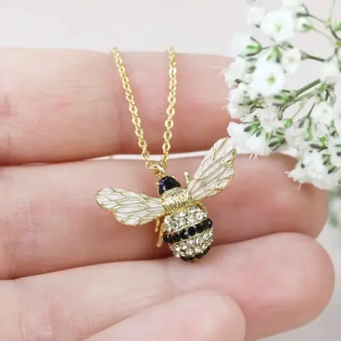 Crystal Bumblebee Pendant Necklace