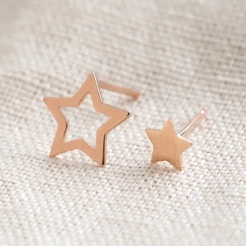 Mismatched Star Stud Earrings in Rose Gold