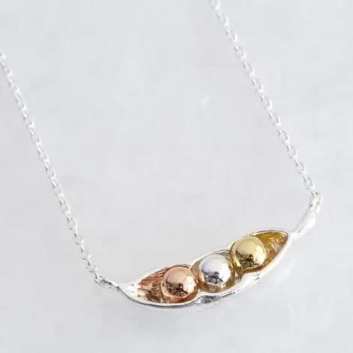 Silver Three Peas In A Pod Necklace