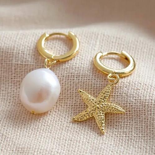 Pearl and Starfish Huggie Hoop Earrings in Gold
