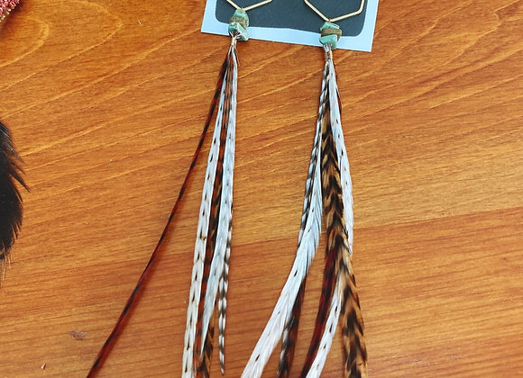 Honeycomb turquoise feather dangles