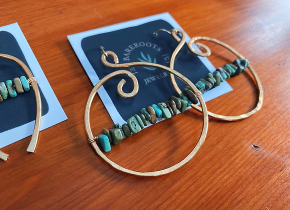 Hammered brass swirl hoops with turquoise