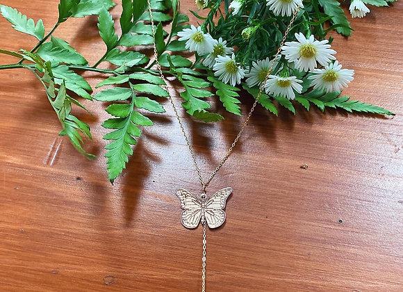 Butterfly quartz necklace (long 18k gold chain)