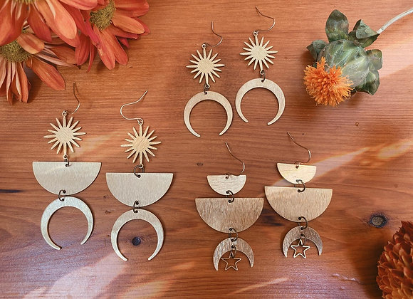 Moon, Star, and Suns Dangles