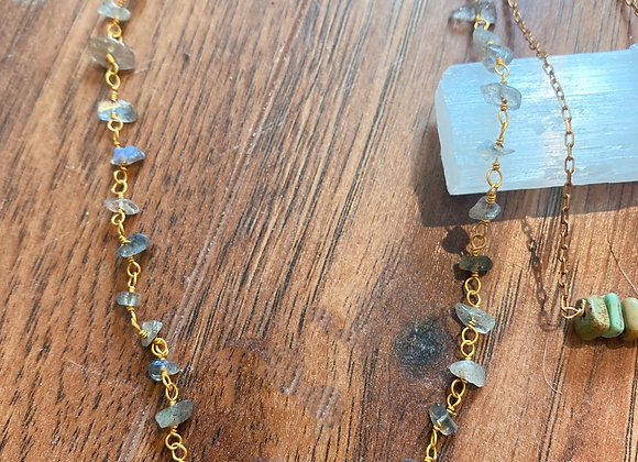 Chip Labradorite or Quartz Necklaces