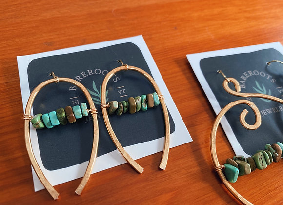 Hammered horseshoes with turquoise