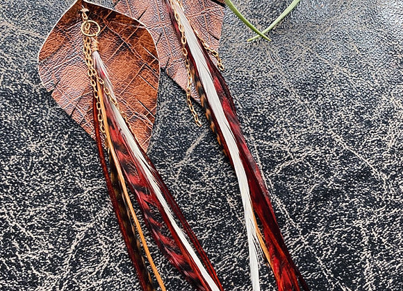 Snakeskin leather & feather dangles