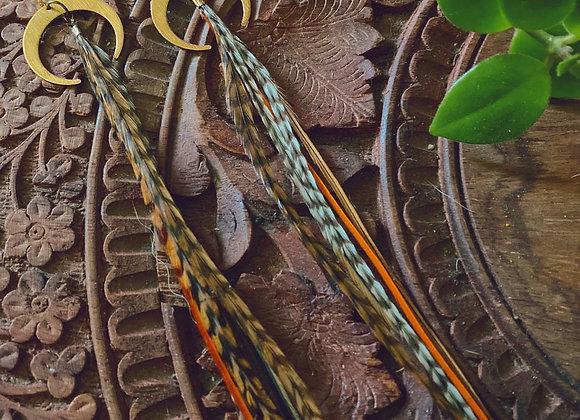 XL feathered quartz crescents