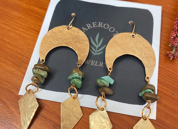 Turquoise Brass Dangles