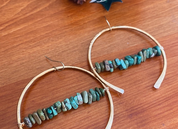 Hammered Turquoise Hoops
