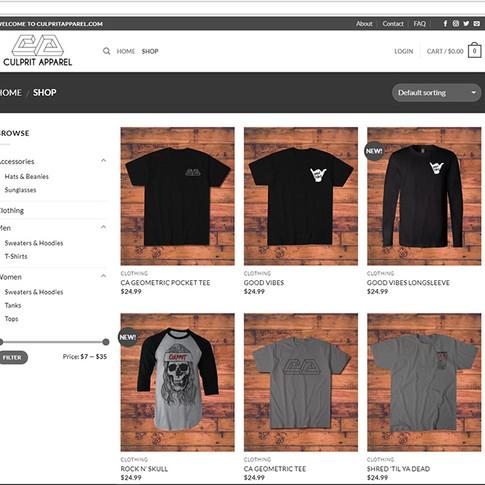 Culprit Apparel Shop Page