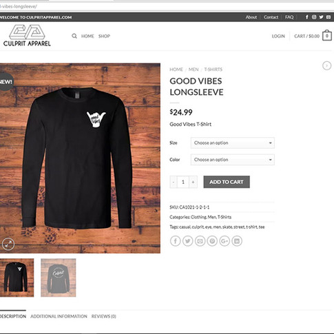 Culprit Apparel Product Page
