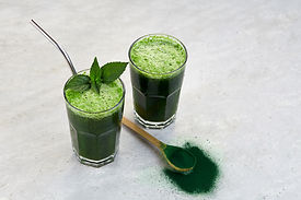 Healthy green vegan smoothie with spirulina and spinach leaves for detoxification..jpg