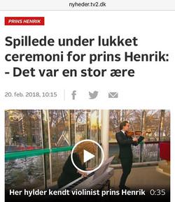 TV2 Ceremony for Prince Henrik