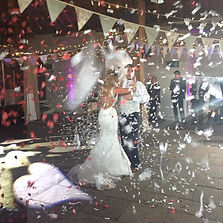 Confetti Explosion during First Dance | Great Fosters Tithe Barn Wedding DJ