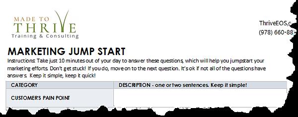 Sample of Marketing Jumpstart Worksheet