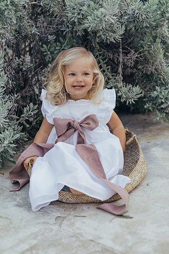 baby Long white dress with embroidery frill / vestido comprido de bebe com folho
