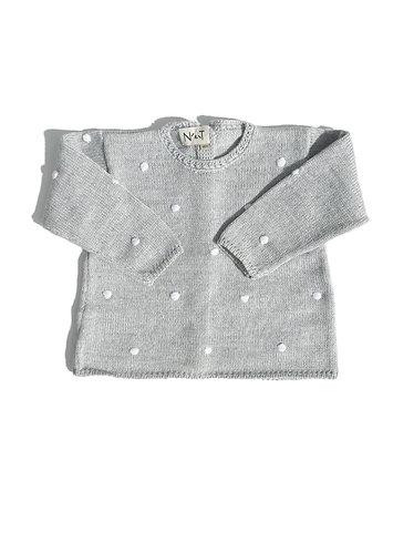 Grey Baby spots jumper/ Camisola bolas de bebe cinzenta