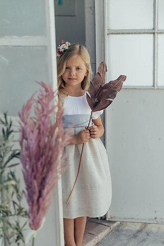 White&beige dress with ribs/ Vestido branco&bege com nervuras