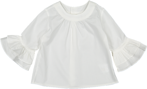 White shirt with frill sleeve/ Túnica com folho na manga