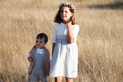 White&grey dress with 3/4 sleevs/ Vestido branco e cinzento manga a 3/4