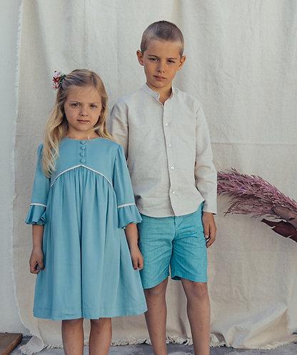 Blue dress with frill sleeve / vestido azul manga folho