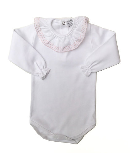 Body with pink frill long sleeve / Bodie com folho cr manga comprida