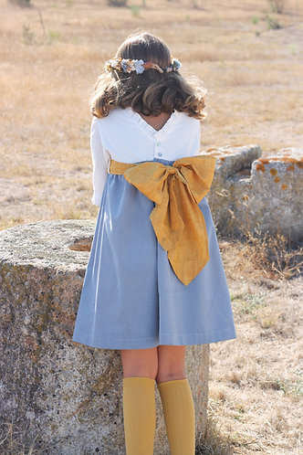White&blue dress with 3/4 sleevs/ Vestido branco e azul manga a