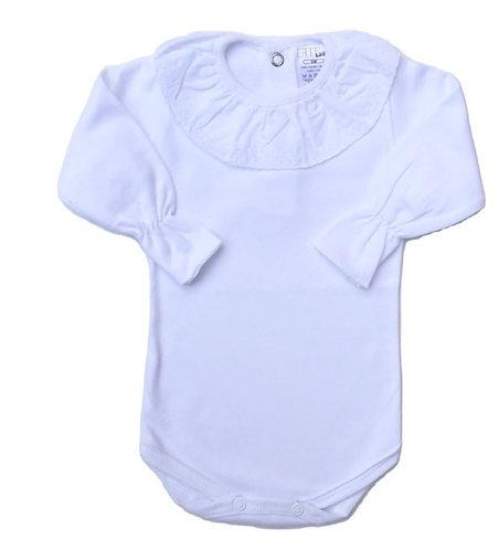 Body with white frill long sleeve / Bodie com folho br manga comprida