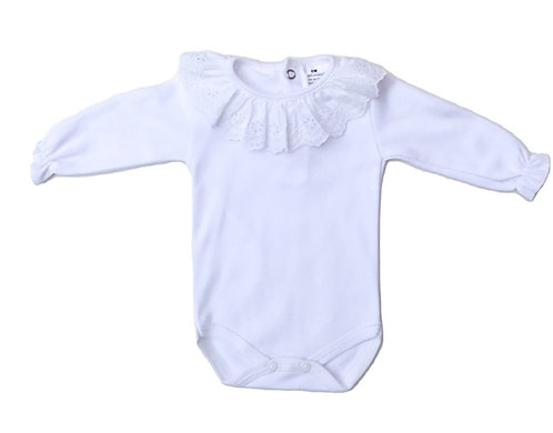 White body with embroidery collar/ Bodie branco com bordado na gola