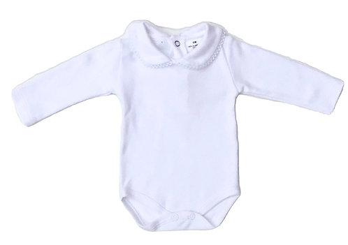White body with round collar/ Bodie branco com gola redonda