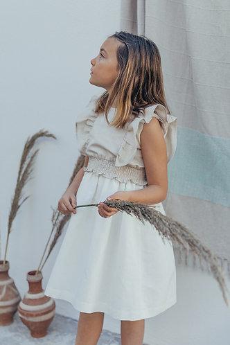 Simple pearl linen dress / Vestido simples de linho pérola