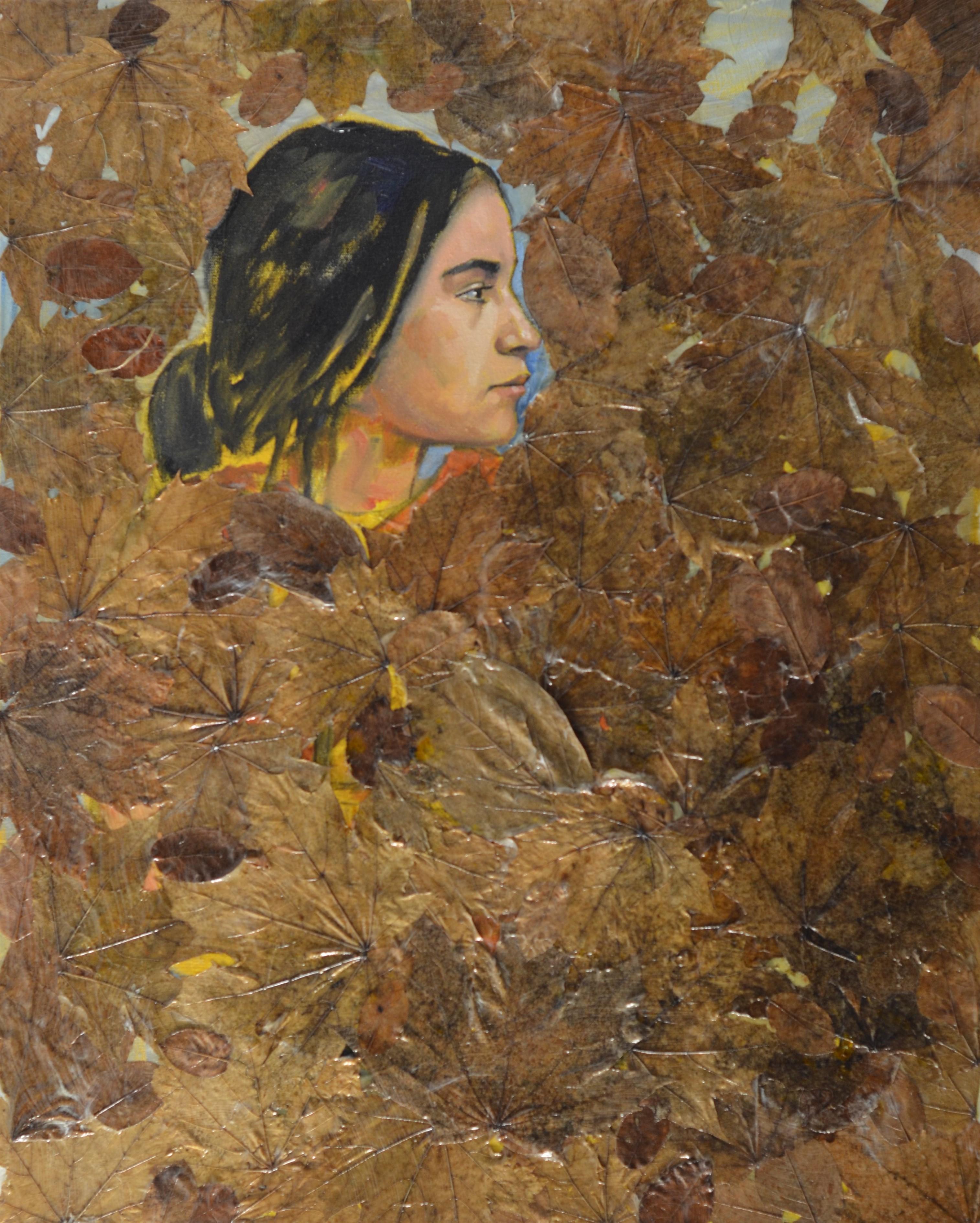 Rana acrylic medium, tempera and leaves on canvas 30 x 24 Inch 2019