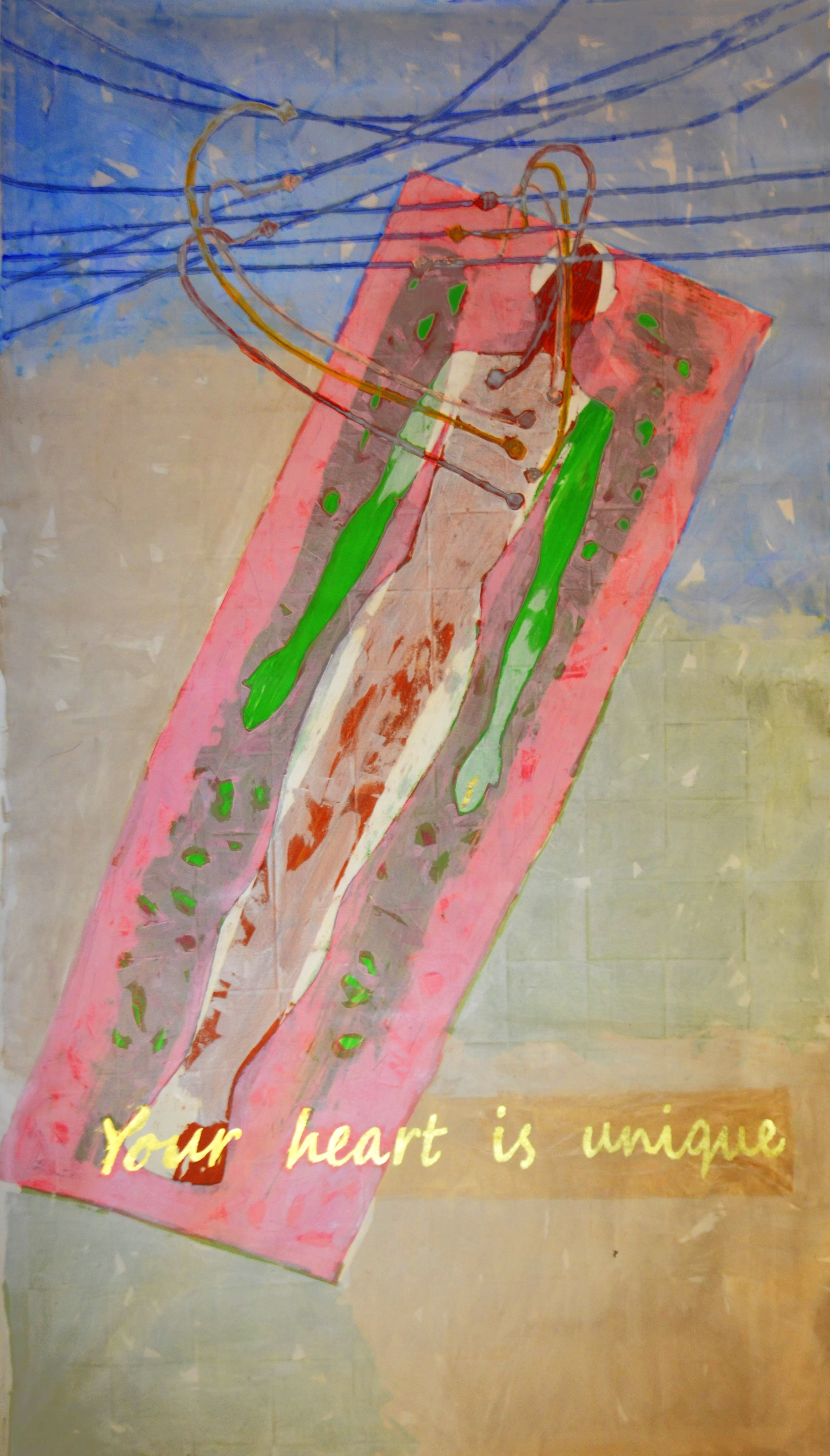Your heart is unique, acrylic, tempra and gold leaf on canvas, 146 x 78.5 Inch 2019