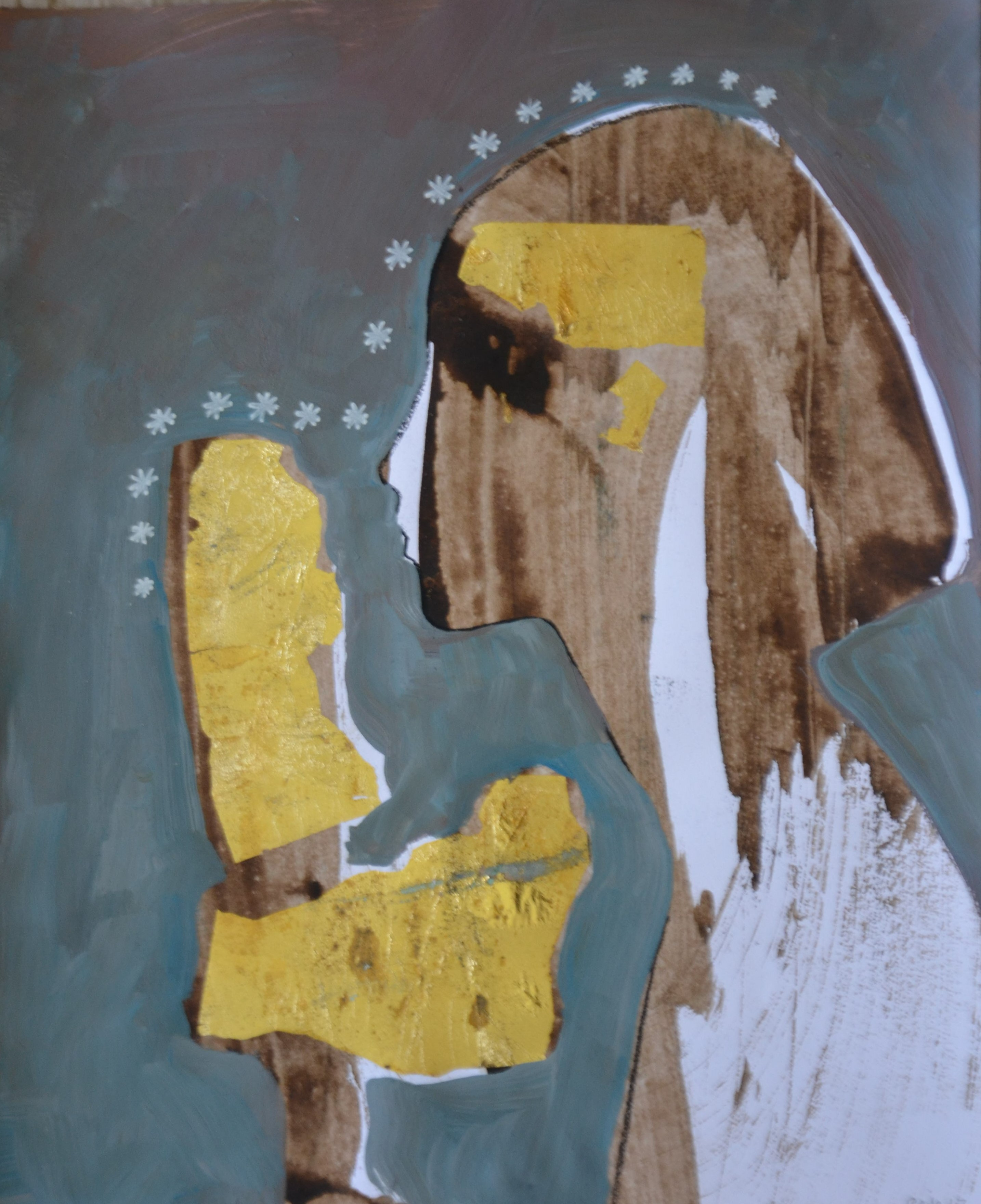 16 From my Memory acrylic, tempera and gold leaf on paper, 24 pieces 17 x 14 Inch each, 2017