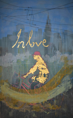 Manhattan In Love, acrylic, tempra and gold leaf, 88 x 55 Inch 2017