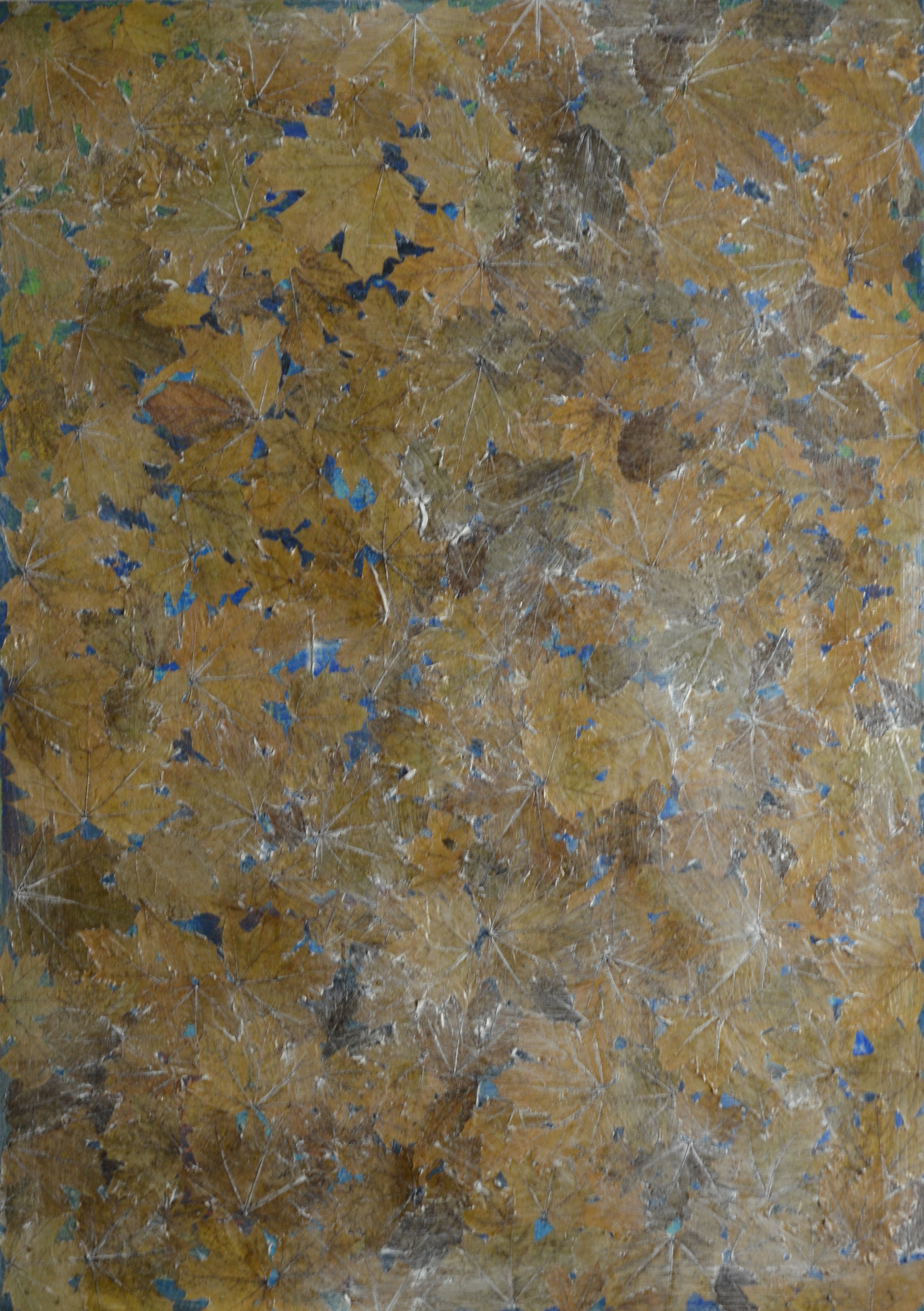 The begining of Snow medium, tempera and leaves on canvas 51.5 36.6 Inch 2019 99