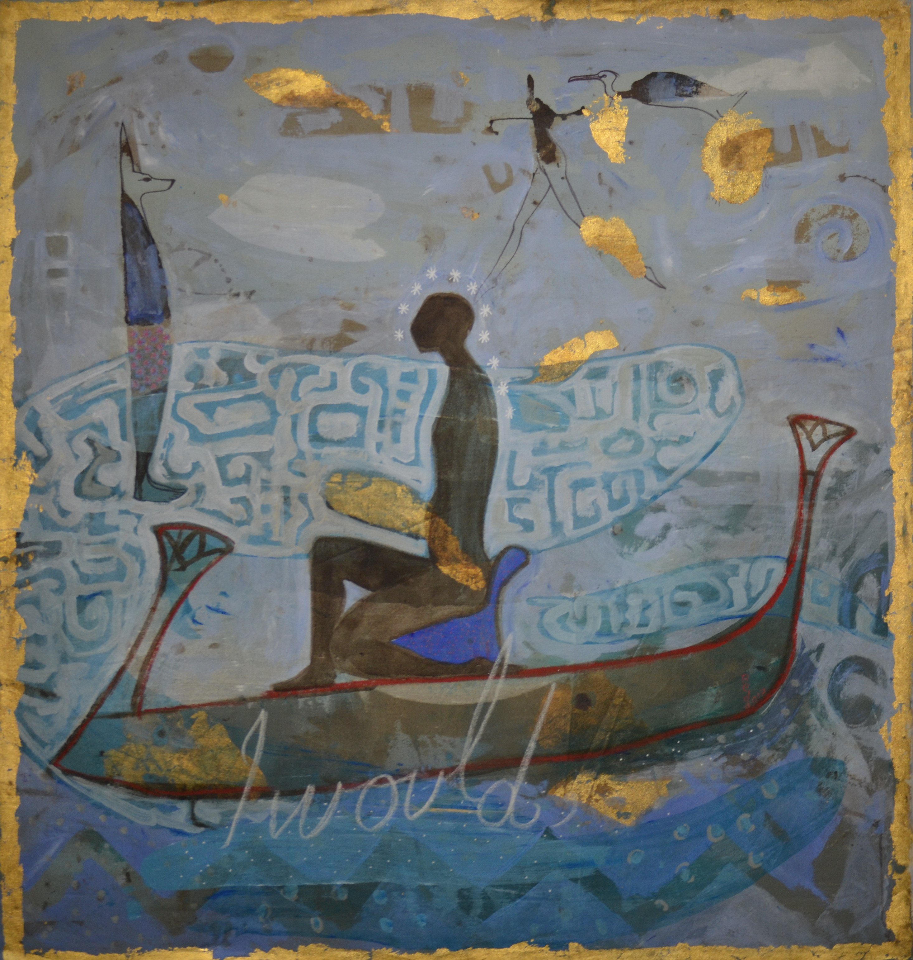Ramble between The Nile and Hudson acrylic, tempera and gold leaf 55 x 52 Inch, 2017