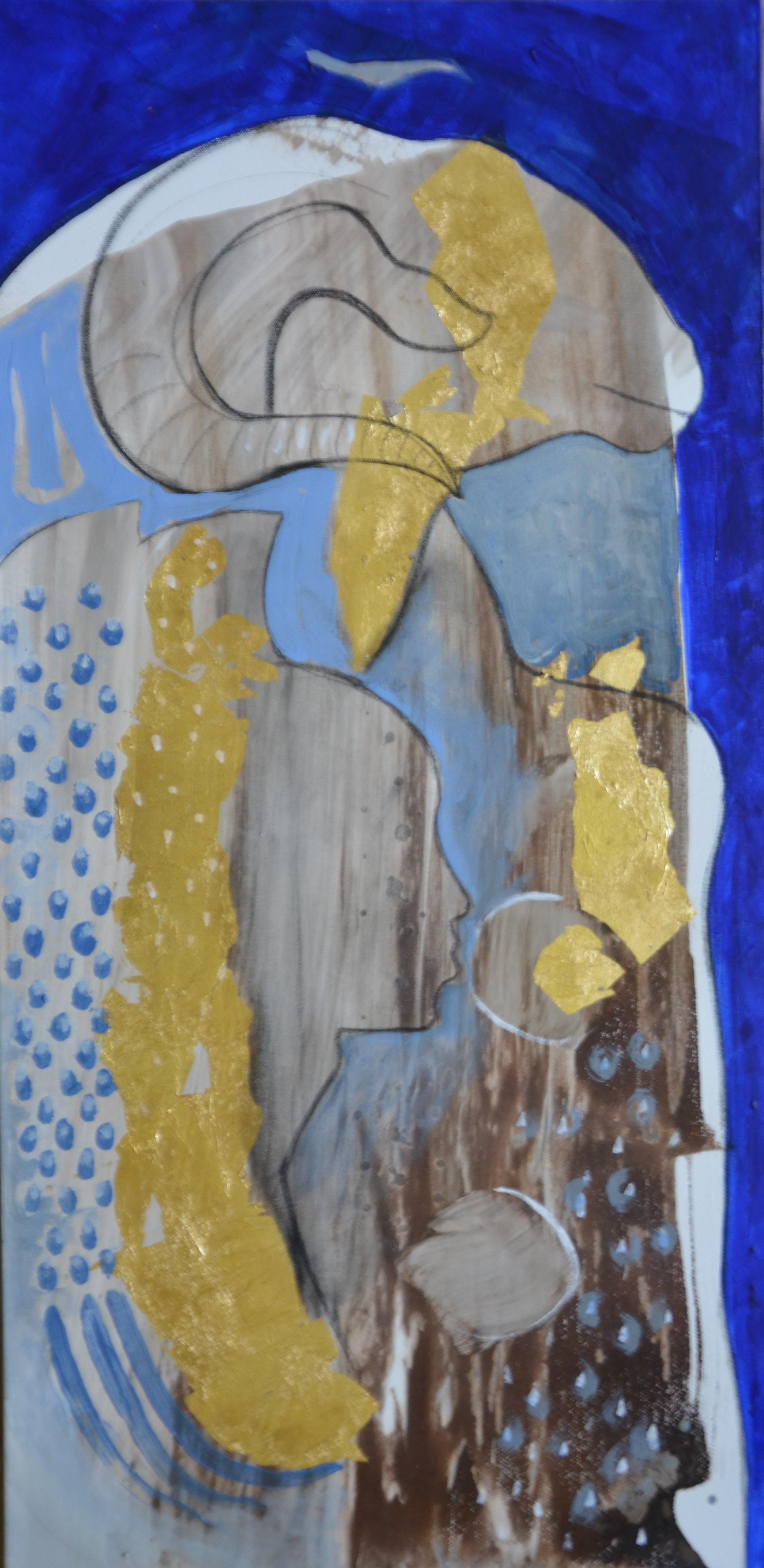 Khenmu acrylic, tempera and gold leaf canvas, 36 x 18 Inch, 2017