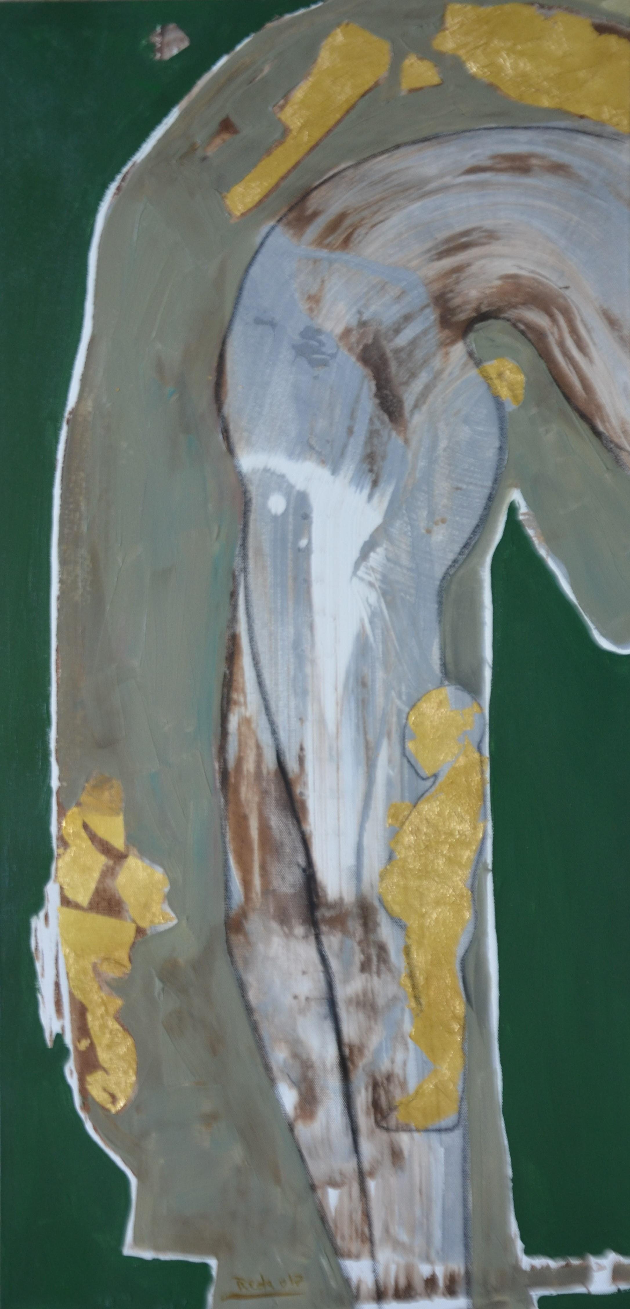 Boy acrylic, tempera and gold leaf canvas, 36 x 18 Inch, 2017
