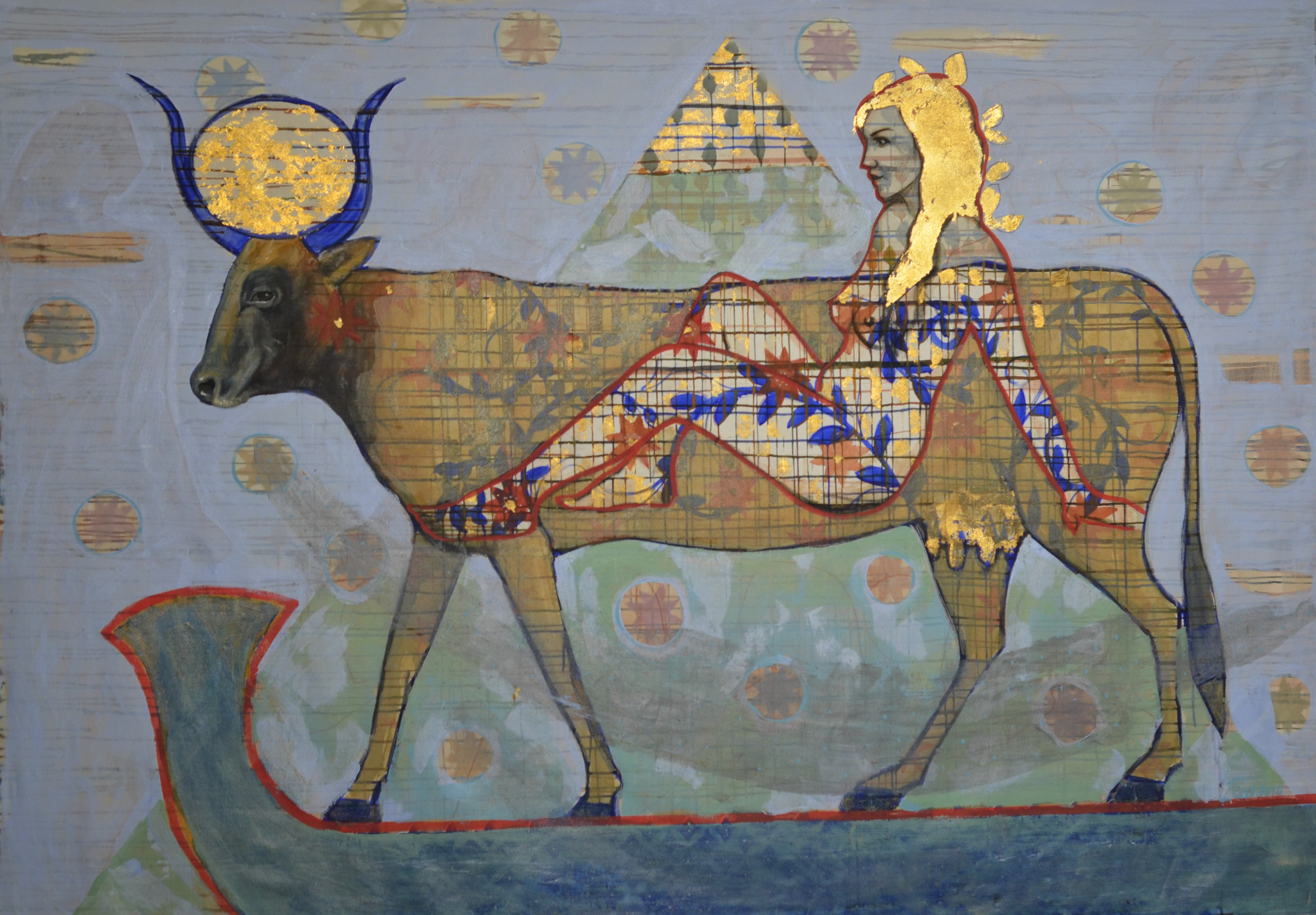 Hathor 55x73 Acrylic, Tempera and gold l