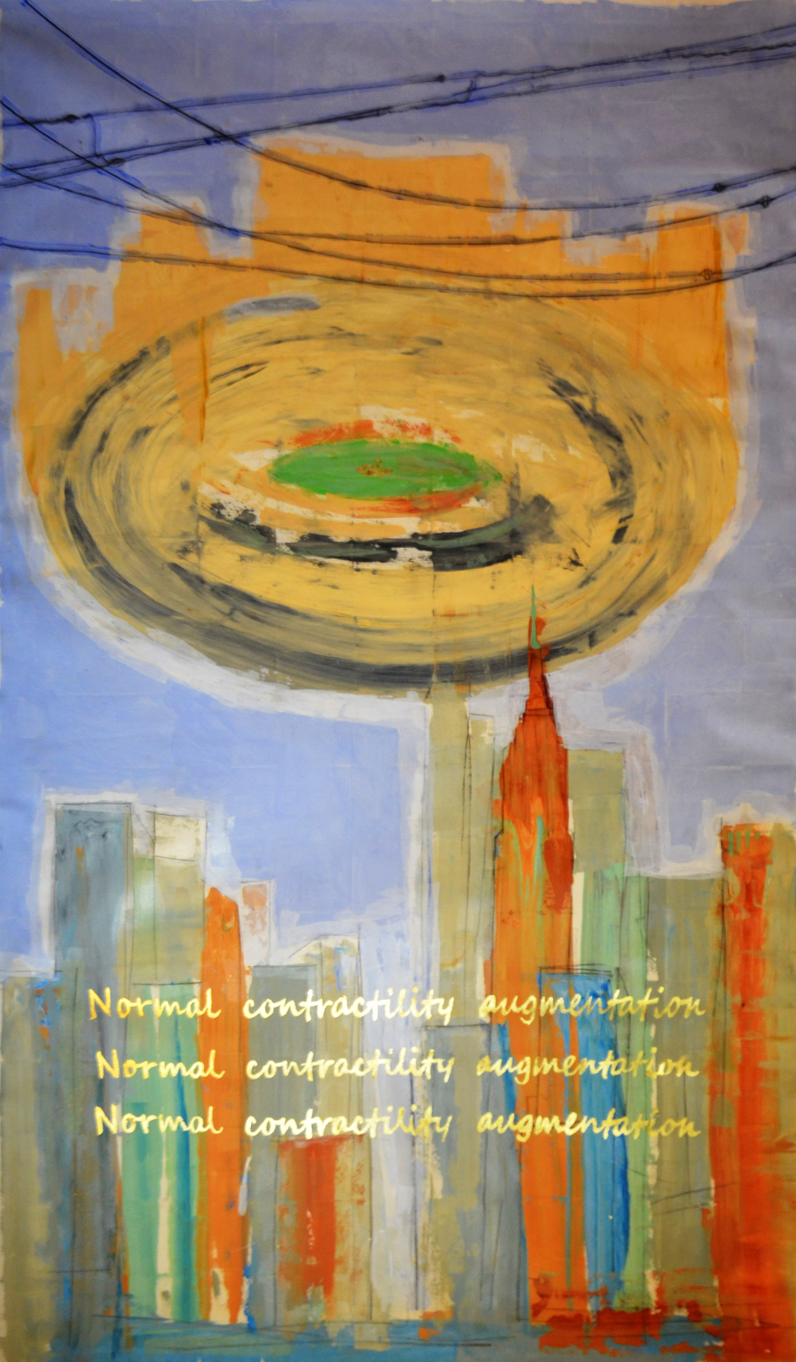 Normal contractility augmentation, acrylic, tempra and gold leaf on canvas, 146 x 78.5 Inch 2019