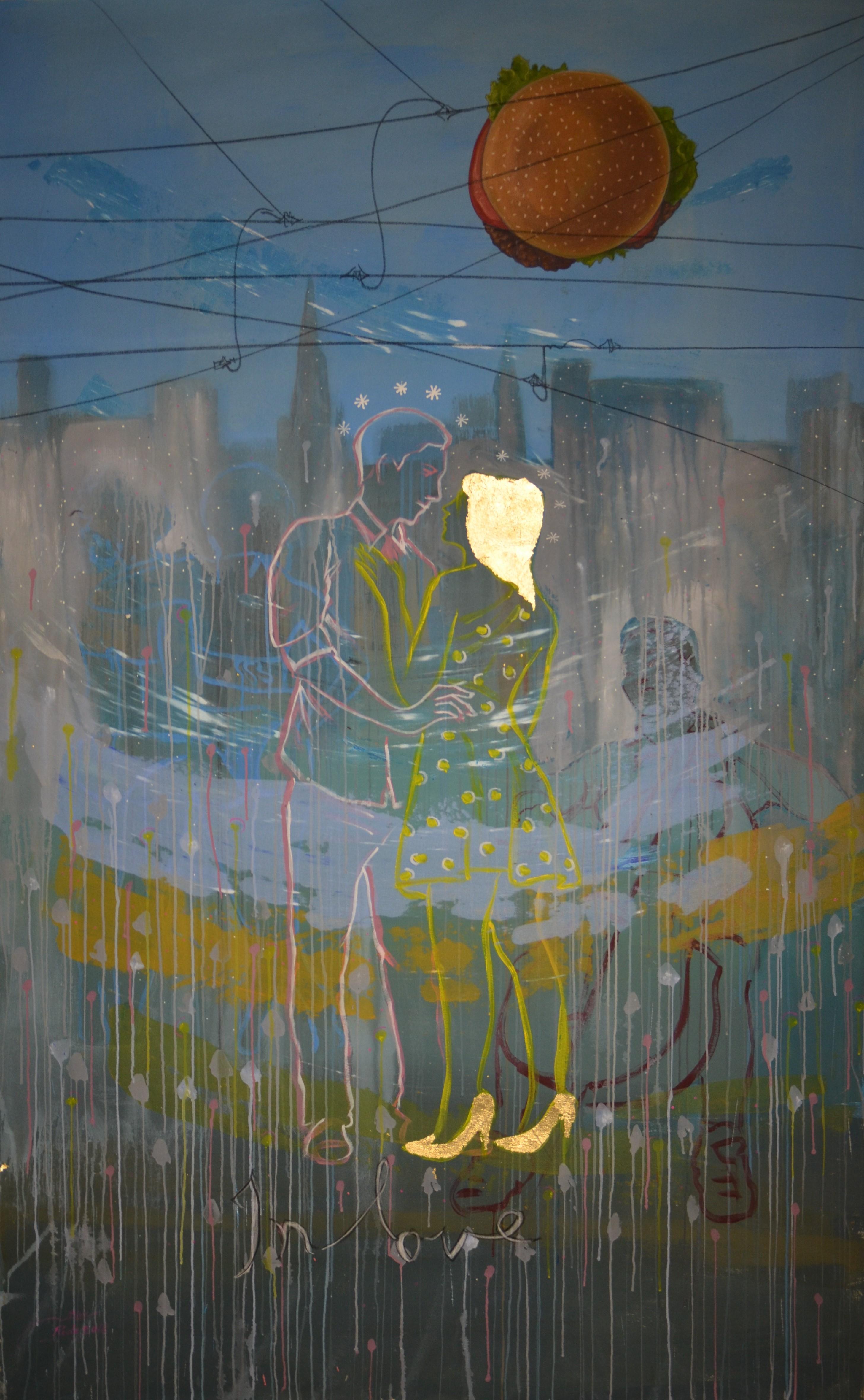 Hamburger Love, acrylic, tempra and gold leaf, 88 x 55 Inch 2017