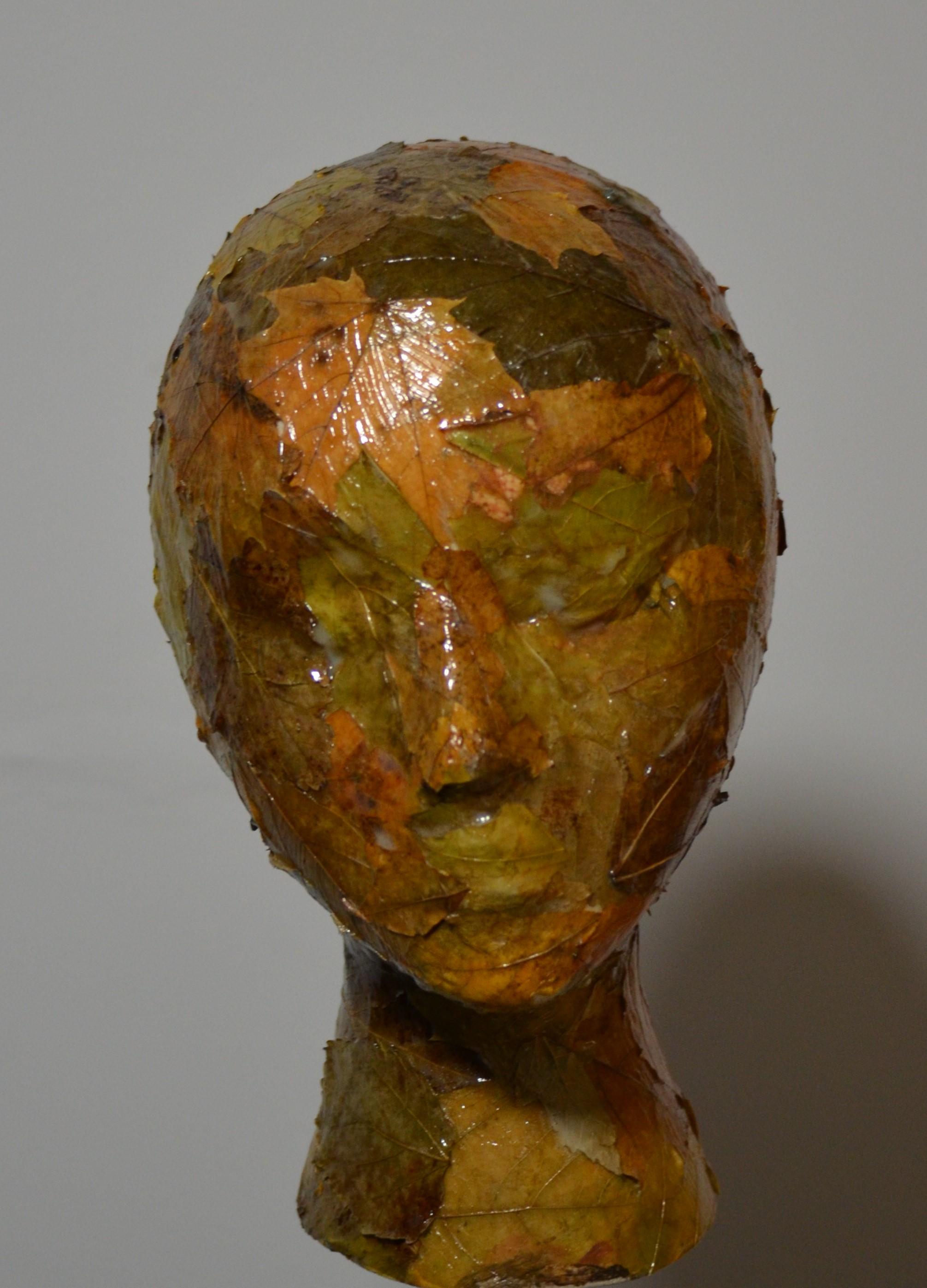 Portrait leaves and acrylic medium on foam 10.5 x 5.5x x 8 Inch 2019