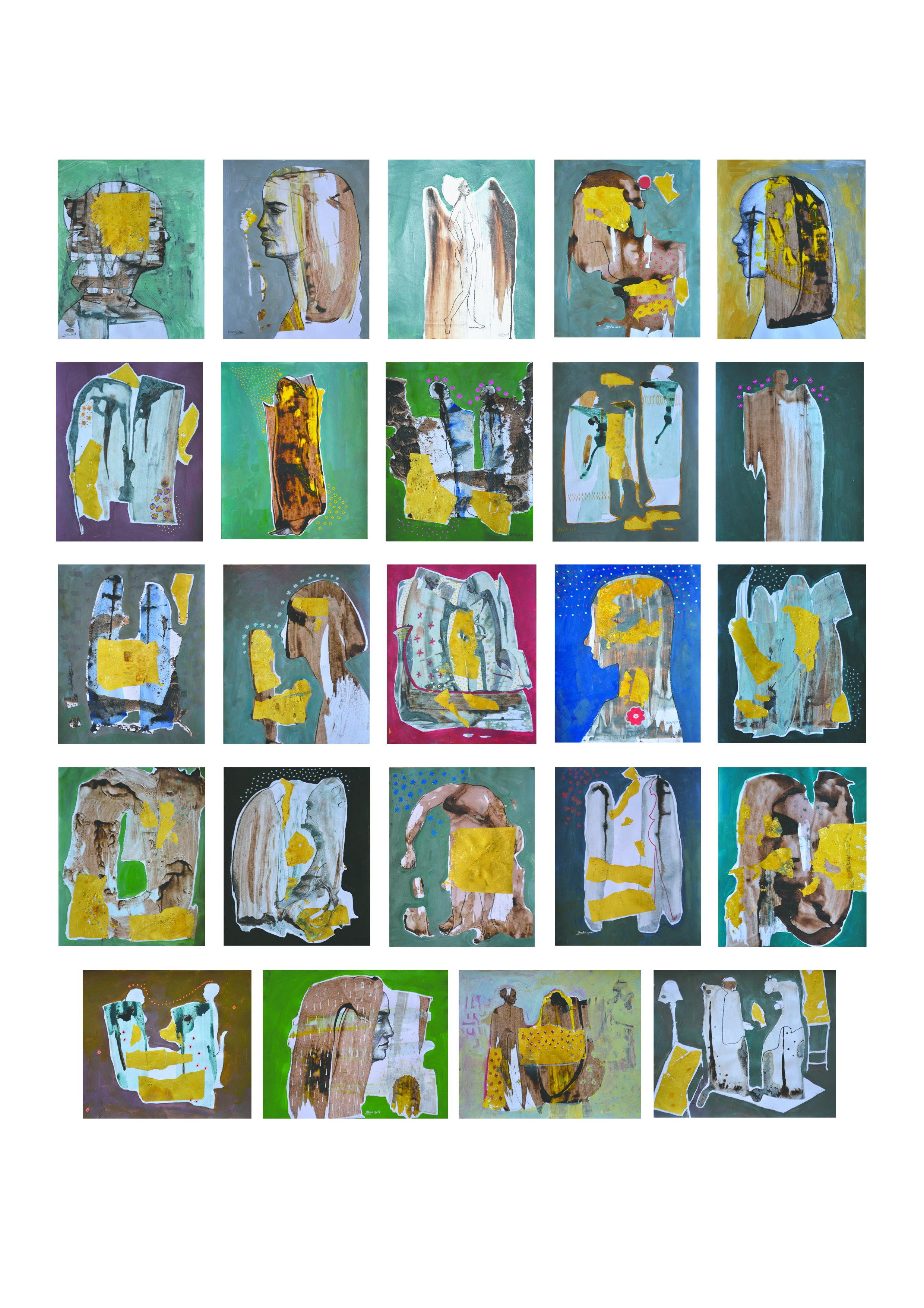 From my Memory acrylic, tempera and gold leaf on paper, 24 pieces 17 x 14 Inch each, 2017