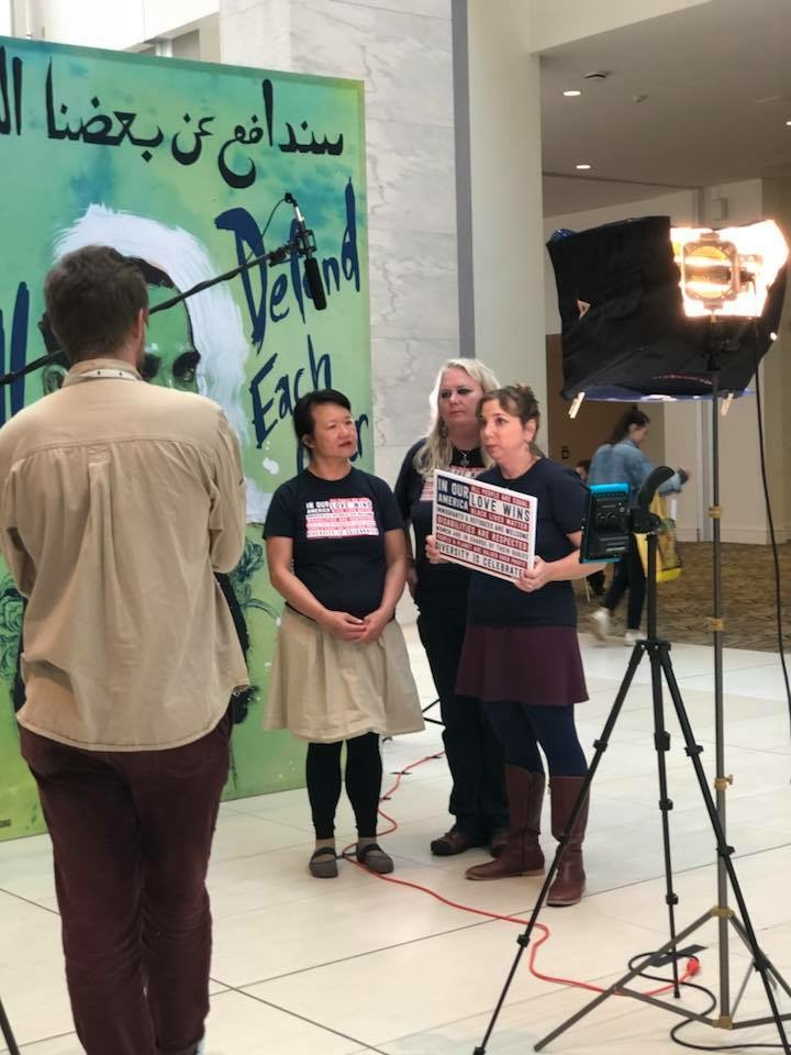 The trio being interviewed by HearOurVoice.net for a documentary about the Women's March and Convention.