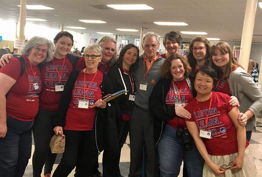 Organizers from Nasty Women Get Shit Done pose with Earl Blumenauer.