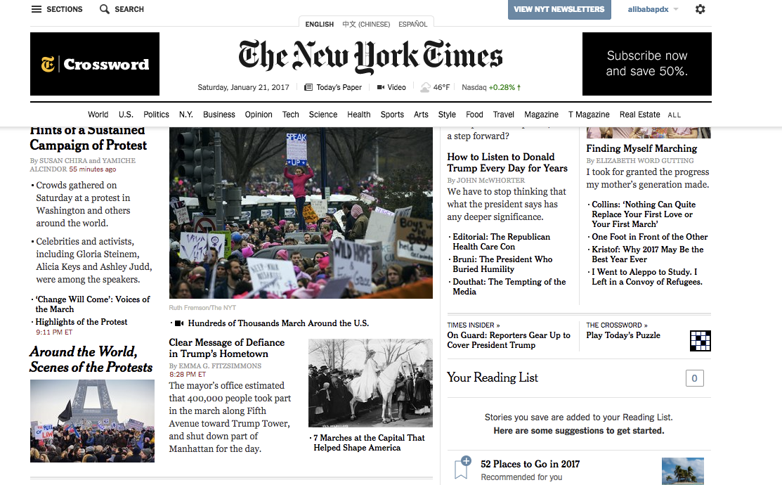 Our flag appeared at the Women's March in Paris, as shown on this New York Times cover.