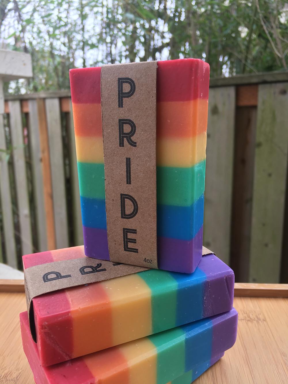 PRIDE soap based on the LGBTQ pride flag
