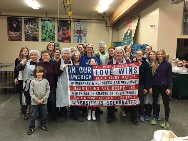 These Nasty Women bonded over packing food at the Oregon Food Bank.